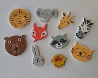 Wooden woodland animals buttons