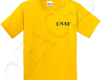 USAF Black Kids T-shirt Air Force on Left Chest Tee for Girls and Boys - 1299P