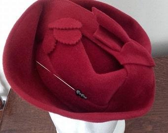 1940's Red Tilt Hat