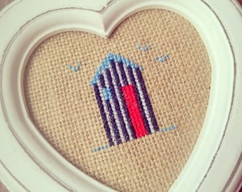 Beach hut cross stitch in hanging heart frame