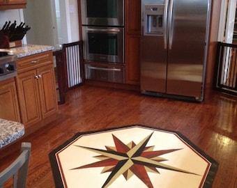 Mariners Star Floor Cloth, Compass Rose Floor Cloth, Nautical Home Decor, Canvas Rug.