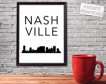 Nashville Print, Nashville Skyline, Nashville Poster, Printable Art, Instant Download, Wall Art, Cityscape Art, Typography Poster
