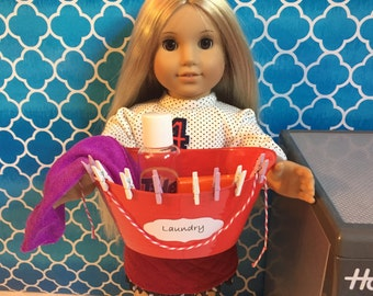 Made for 18 inch american girl doll Accessories Laundry Set - Red basket / clothespins / clothesline / towel / dryer sheets / detergent