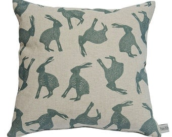 Hand Printed Grey Leaping Hare Cushion