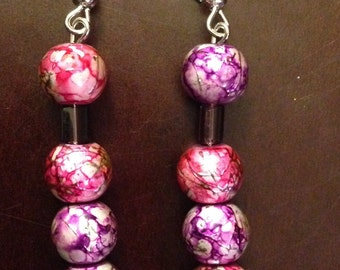 4 Ball Pink and Purple Drop Earring