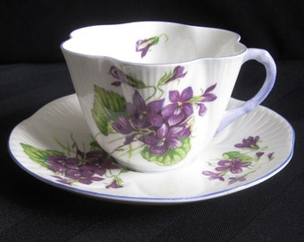 Shelley Violets Cup and Saucer - Dainty Shape