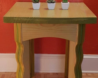 Artsy pine side table