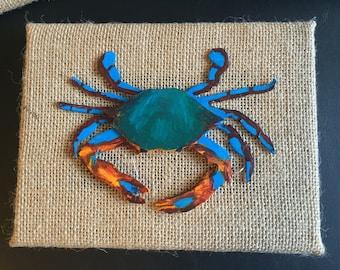 Decorative 3D Crabs on Burlap