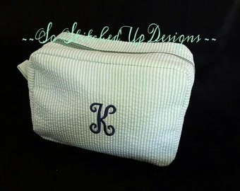 Monogrammed Seersucker Cosmetic bag,  Personalized Make up Bag/ Embroidered/ Travel Bag/  Toiletry Bag/ Bag for cosmetics/ Gift ideas/