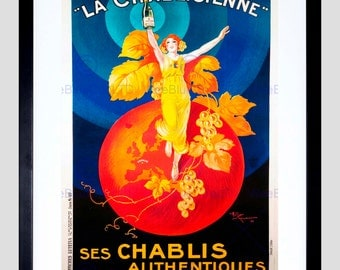 Food Advert Chablis Wine France Artistic Vintage Poster Art Print FE795PY