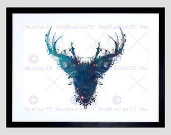 Scottish Painting Graphic Ink Splat Deer Stag Evry Art Print Poster FEHP021