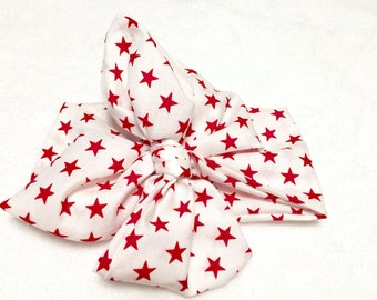 Red & white stars head wrap - 1 pc