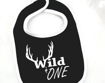 Wild One Bib, Deer Bib, First Birthday, Wild and One, Antlers, 1st Birthday Bib, 1st Birthday, Little Boy, Little Girl, Birthday Bib