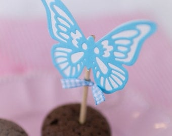 Handmade cupcake toppers blue butterflies | Table decoration