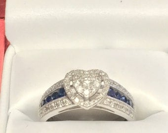 Dazzling Heart Shaped Platinaire Diamond Engagement Ring 1/2 Carat T.W. Size 8