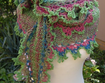 Hand knit crochet shawl stole scarf scarf colorful-green