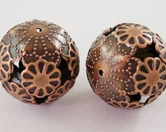 20mm Filigree Round Beads x10