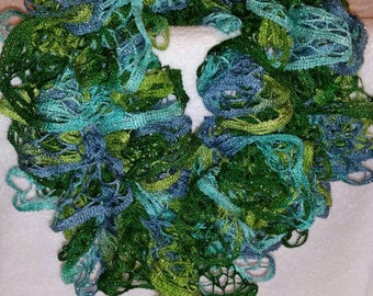 Ruffled crocheted  scarf in greens and blues