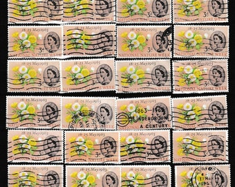 24 1963 4d GB used postage stamps off paper, for collectors or craftsfolk for use in collage, decoupage and many other uses