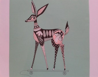 Bambi/Fawn in black/pink