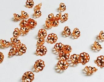 Real Copper Bead Caps - 40 Pieces - #504