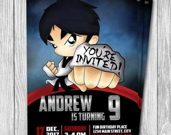 PRINTABLE Martial Arts Party Invitation, Printable Invitation, Taekwondo, Karate, Birthday Card