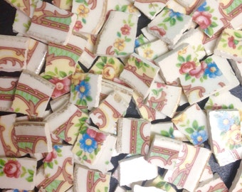 LIVELY FLORAL vintage china mosaic tile- ceramic broken plate-200 pcs-shabby chic-pique assiette id*642