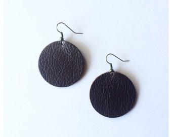 Leather Earrings -- Dark Brown