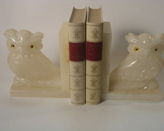 Pair of bookends décor owls/owls in Alabaster