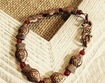 Copper fish bracelet