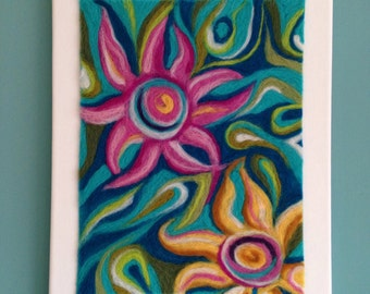 Contemporary textile wall art .Needle felted flower picture on canvas. Original wool painting.
