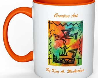 Mug with an Abstract Drawing of the Resurrection of Christ