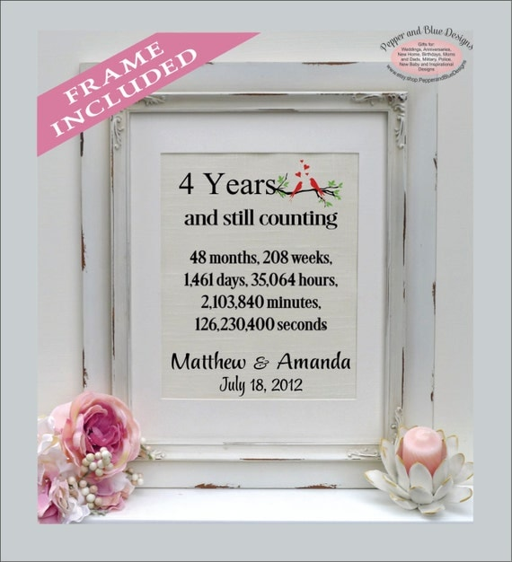Traditional 4th Year Wedding Anniversary Gift: 4th Anniversary Gift Linen Print 4 Year Anniversary