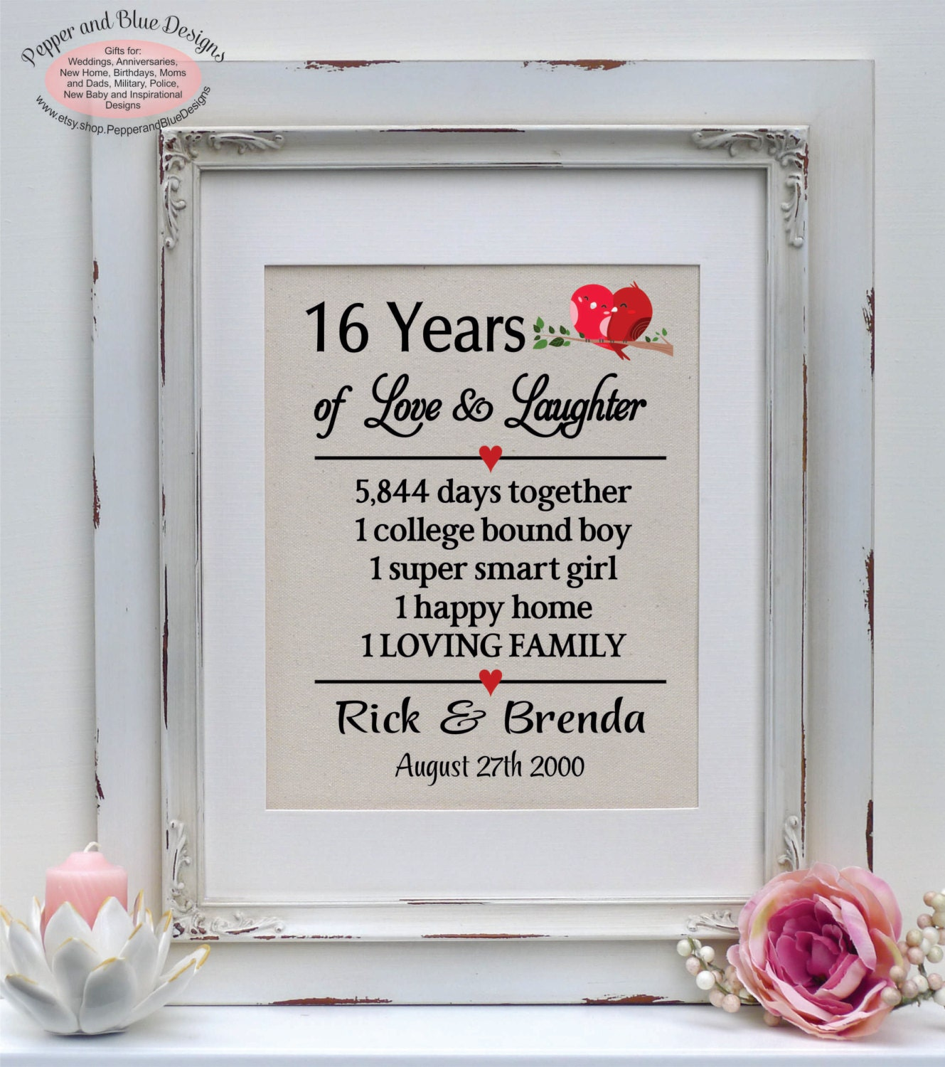 Wedding Gift 16 Years : 16th wedding anniversary gifts 16 years by PepperandBlueDesigns