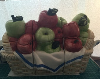 Vintage 1992 Three Piece fruit basket cookie jar