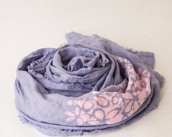 linen scarf / scarf made of linen / scarf with floral print / scarf light