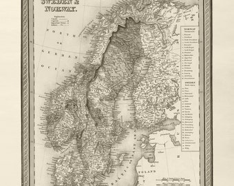 Norway Map Etsy - Norway map poster