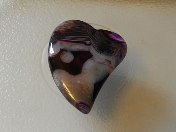 Beautiful unique purple white stripes agate heart pendant bead