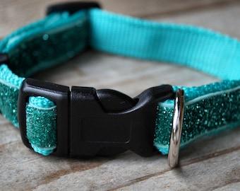 Glitter dog collar turquoise for smaller dog