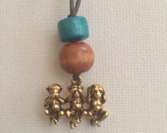see no evil, hear no evil, speak no evil necklace #1