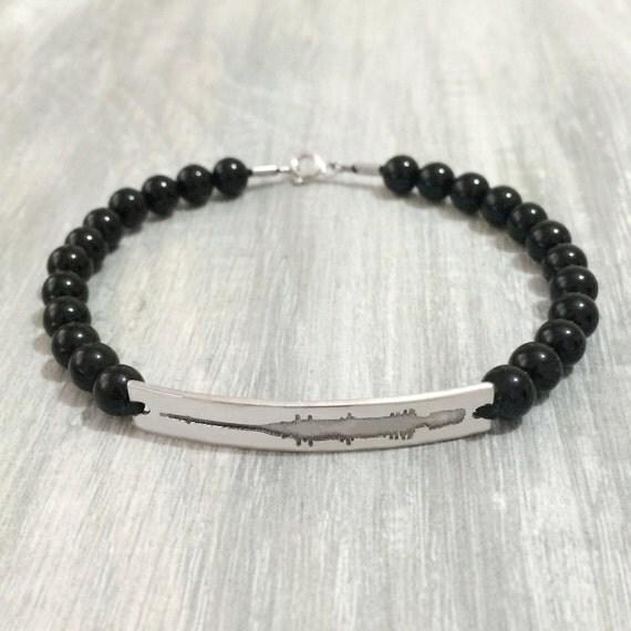 beaded sound bracelet custom voice on beaded bracelet black