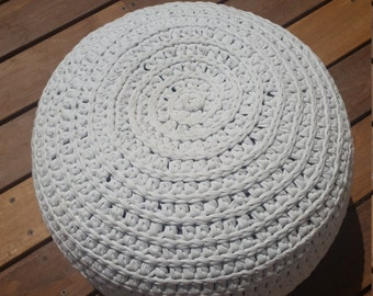 Floor cushion, Pouf, Crochet pouf, White pouf, Pouf ottoman, Floor pouf, Crochet cushion, Round pouf, Nursery gift