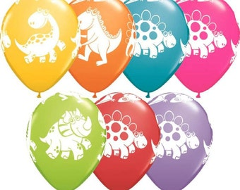 "6 x 11""  Dinosaurs Latex Balloons in Pastel Colours by Qualatex Children's Birthday Party"