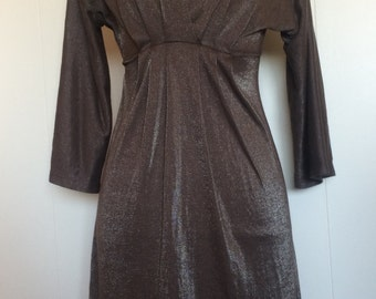 Taupe/Gold V-Neck Empire Waist Party Dress Size Medium