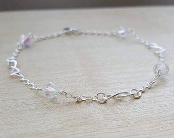 Sterling silver ANKLE bracelet with Swarovski crystals