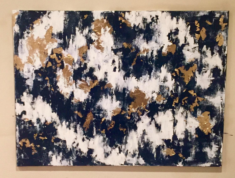 Blue Abstract Art Gold Leaf Abstract Art Blue Gold Art Navy