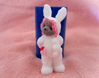 Teddy bear wearing a rabbit suit - silicone mold for soap and candles making