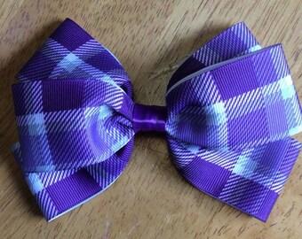 Purple plaid bow