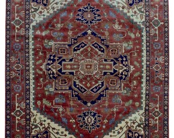 Large Red, Beige and Blue Serapi Oriental Rug 8'1X10'3