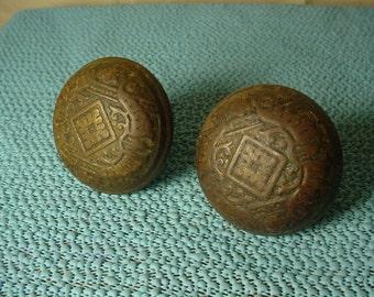 PAIR of Old Doorknob Shabby Grimy Antique Vintage Aesthetic Movement Eastlake Steel Knobs